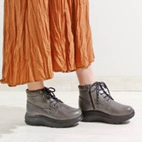 厚底軽量 編み上げスニーカーブーツ (GY)