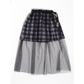 チュール重ねプリーツスカート (ブラック)