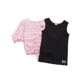 シャーリングブラウス&タンクセット (ピンク)