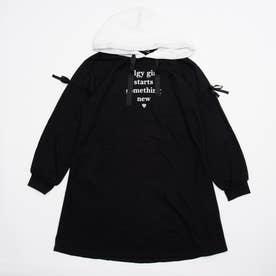 肩あき風バイカラーフードワンピ (ブラック)