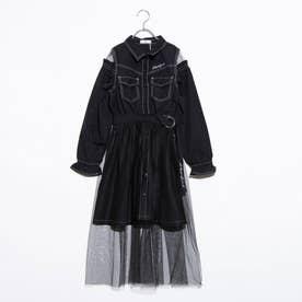 アキcコラボチュールスカート付きワンピ (ブラック)
