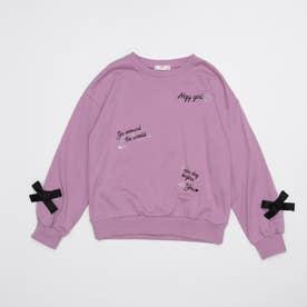 とび刺繍りぼん付きトレーナー (ピンク)