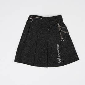 チェーン付きツィードスカート (ブラック)