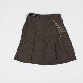 チェーン付きツィードスカート (ブラウン)