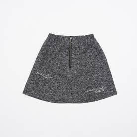 フロントジップツイードスカート (ブラック)