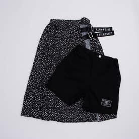 小花柄スカート&ショーパンセット (ブラック)