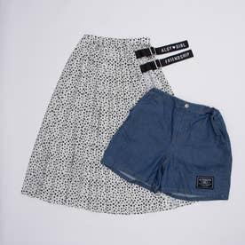 小花柄スカート&ショーパンセット (オフホワイト)