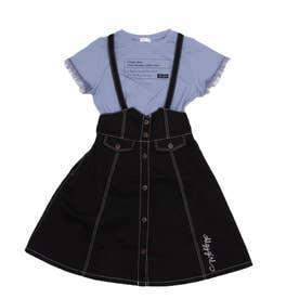 シアー袖T&ジャンスカセット (ブラック)