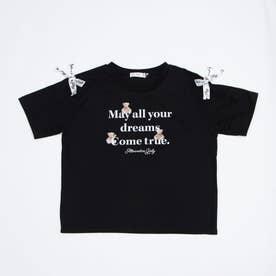 袖りぼんベアロゴT (ブラック)