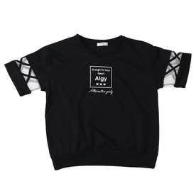 クロスチュール袖T (ブラック)