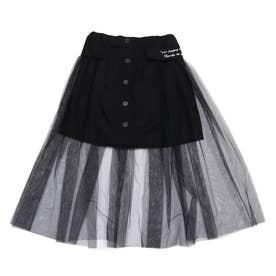 チュール重ねスカート (ブラック)