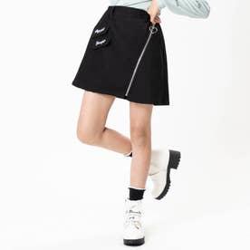 ナナメジップスカート (ブラック)