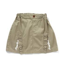 フリルスリット風切替スカート (カーキ)