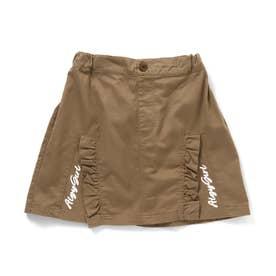 フリルスリット風切替スカート (ブラウン)