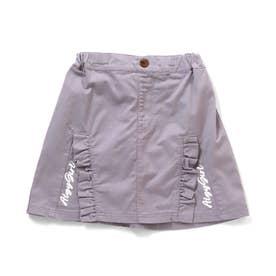 フリルスリット風切替スカート (ラベンダー)