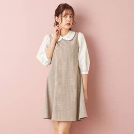 衿フリル袖異素材/OP (ブラウン/チェック)