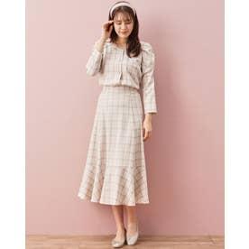 裾切替マーメイドスカート(SETUP対応) (ベージュ/チェック)
