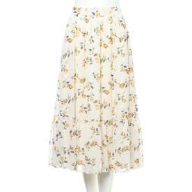裾切替花柄シフォンスカート (アイボリー)