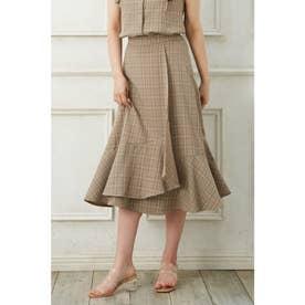 裾切替ラップスカート(SETUP対応) (ブラウン/チェック)