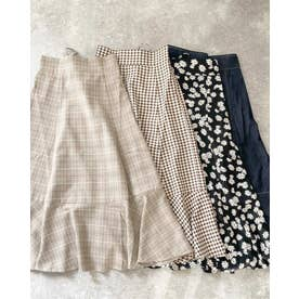 BACKレースUP裾切替スカート (ブラウン/チェック)