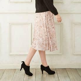 花柄シフォンミモレスカート (ピンク)