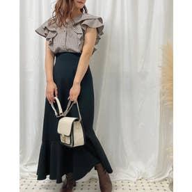 裾切替マーメイドスカート (クロ)