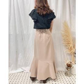 裾切替マーメイドスカート (ベージュ)