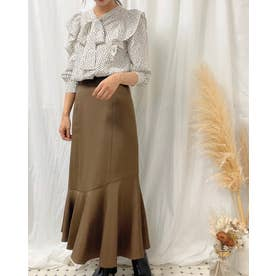 裾切替マーメイドスカート (ブラウン)