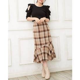 裾切替マーメイドスカート (チェック)