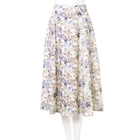 花柄ミディスカート (オフホワイト/ブルー)