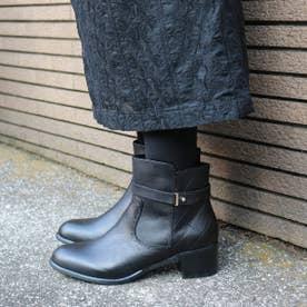 glitter 本革 カカトキルティングデザインブーツ (ブラック)