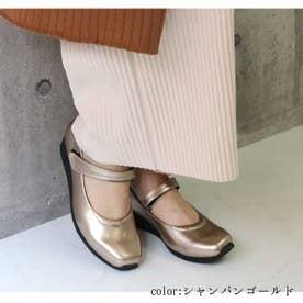 glitter 防水ストラップ付パンプス (シャンパンゴールド)