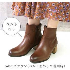 glitter 本革 カカトキルティングデザインブーツ (ブラウン)