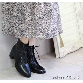 glitter 本革レースアップブーツ (ブラック)