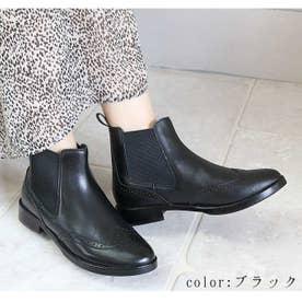glitter 本革 ウィングチップサイドゴアブーツ (ブラック)