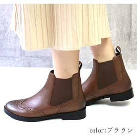 glitter 本革 ウィングチップサイドゴアブーツ (ブラウン)