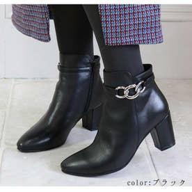 glitter チェーン付きショートブーツ (ブラック)