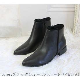 glitter 本革 パイピングラインショートブーツ (ブラック)