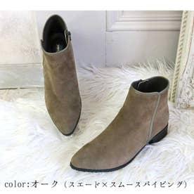 glitter 本革 パイピングラインショートブーツ (オーク)