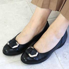 glitter 本革 シルバーモチーフ付きパンプス (ブラック)