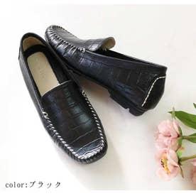 glitter 本革 型押しドライビングシューズ (ブラック)