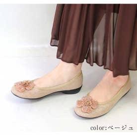 glitter 日本製 軽量 ビーズフラワーモールドソールパンプス (ベージュ)