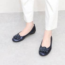 glitter 日本製 軽量 モールドソール ビーズフラワーパンプス (ネイビー)