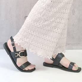 glitter 本革 ベルトデザインサンダル (ブラック)