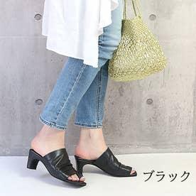 glitter 本革 トングヒールサンダル (ブラック)