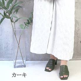 glitter 本革 トングヒールサンダル (カーキ)