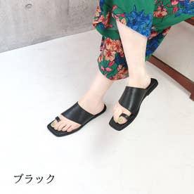 glitter 本革 サムリング トングサンダル (ブラック)