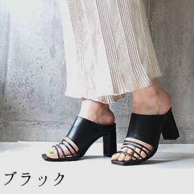 glitter 本革 細ストラップバンドサンダル (ブラック)