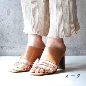 glitter 本革 細ストラップバンドサンダル (オーク)