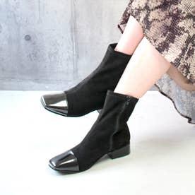 glitter 本革 トウキャップショートブーツ (ブラック)